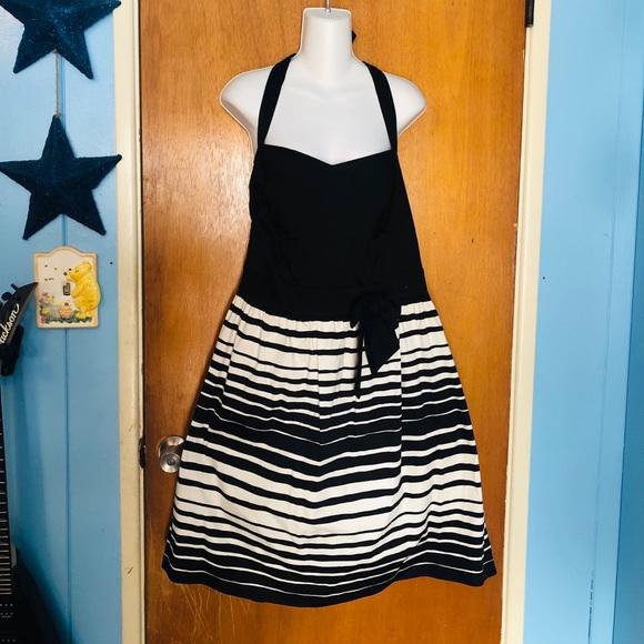 torrid Dresses & Skirts - Torrid 22 Black & White Striped Bow Front Halter